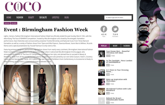 """URBAN COC MAGAZINE"" ""Frankie McCamley"" ""UNICEF UK"" ""Birmingham International Fashion Week"" ""Photographer Charles Davis"" ""Fashion Designers"" ""Tijana and Mila Popovic"" ""Dawn Sunflower"" ""Karen Morris Milliner"" ""Ricardo Ramos"" ""Youssef Kamoun"" ""BHMFW"""