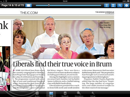 """THE JC"" ""Jewish Chronicle"" ""LJ"" LJ Day of Celebration"" ""Liberal Judaism"" ""Birmingham"""