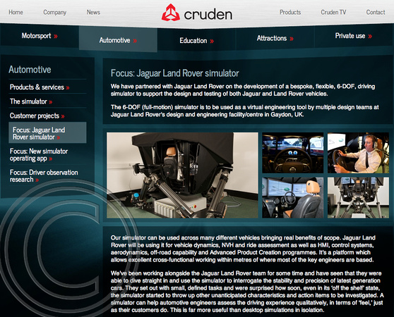"Cruden, ""Jaguar Land Rover"" simulator, ""Charles Davis"" photographer"