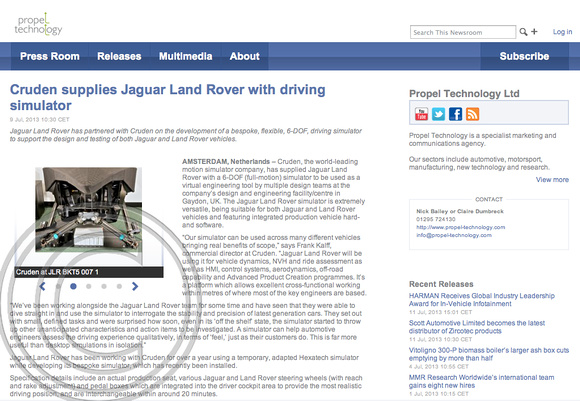 """propel Technology"" ""Cruden"" ""Jaguar Land Rover"" ""Charles Davis"" Photographer"