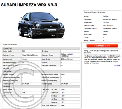 Original JDM WRX NB-R Brochure Spec 1