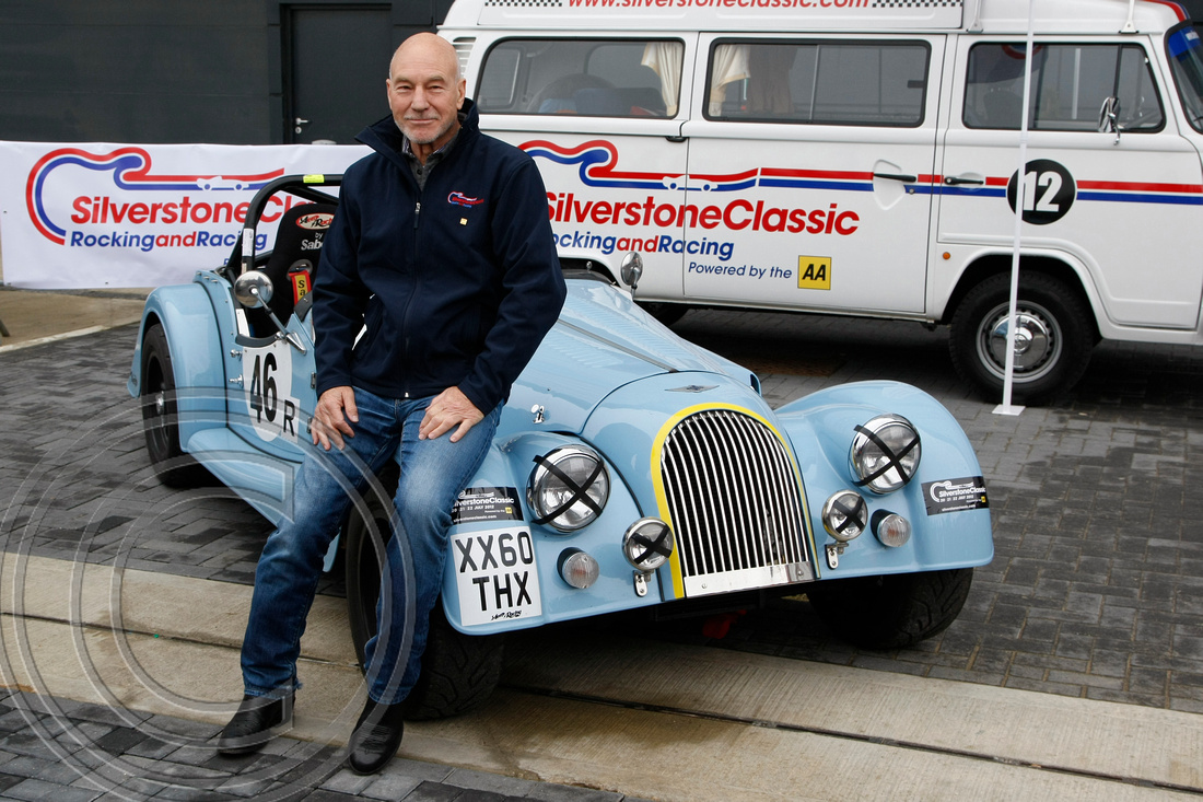"""Sir Patrick Stewart posses with the 130mph lightweight Morgan"" ""Patrick Stewart"" ""Star Trek"" ""Captain"" ""Silverstone Classic"" ""2012"" ""Morgan"""