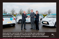 Dean Weston, bathstore Deputy CEO (centre) and Claire Bayliss, bathstore Chief Commercial Officer (right) take the keys from Simon Griffith, Corporate Sales Manager, Citroën & DS Automobiles