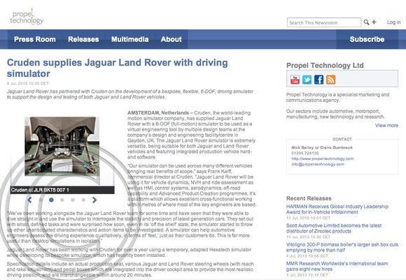 """propel Technology"" ""Cruden"" ""Jaguar Land Rover"" ""Charles Davis"" Photographer"