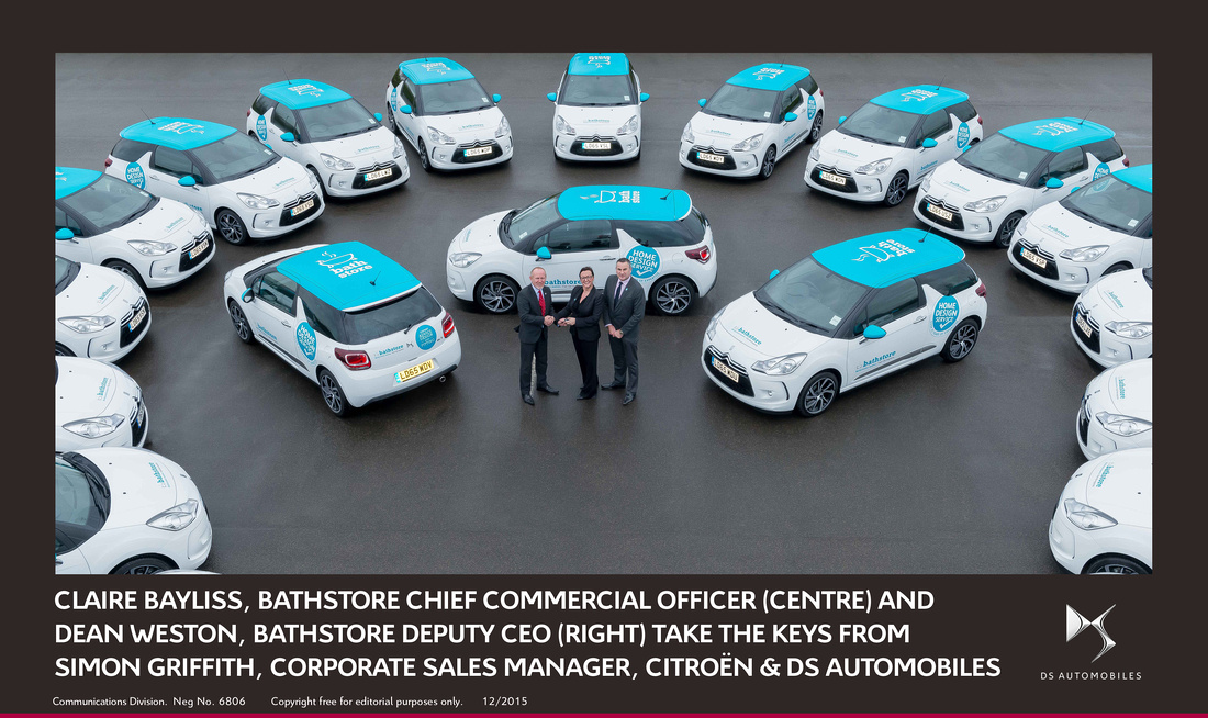 Claire Bayliss, bathstore Chief Commercial Officer (centre) and Dean Weston, bathstore Deputy CEO (right) take the keys from Simon Griffith, Corporate Sales Manager, Citroën & DS Automobiles