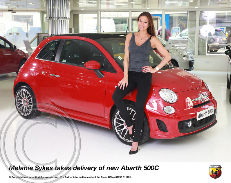 TV STAR MELANIE SYKES TAKES DELIVERY OF NEW ABARTH 500C
