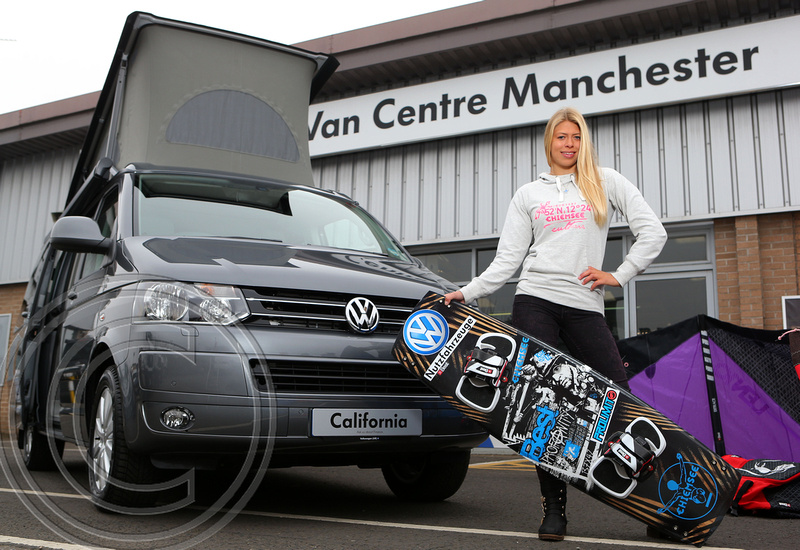 Three-times British kitesurfing champion, Hannah Whiteley