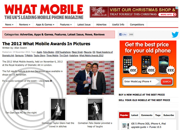 """what mobile"" what mobile awards"" 2012 ""RADA"" ""Clarke White Publishing"""